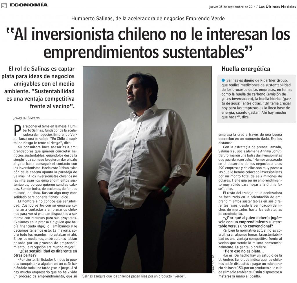 Las Ultimas Noticias Entrevista Humberto Salinas Al inversionista chilenos no le interesan los emprendimientos sustentables